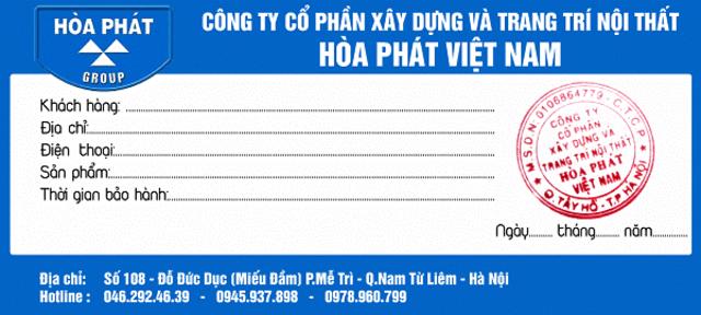 Tem bảo hành của công ty Hòa Phát